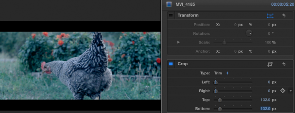 how to achieve widescreen 2 35 video in fcpx and remove