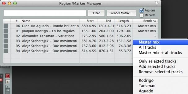 selected regions for render